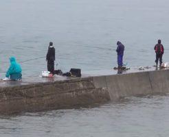 海釣り 雨